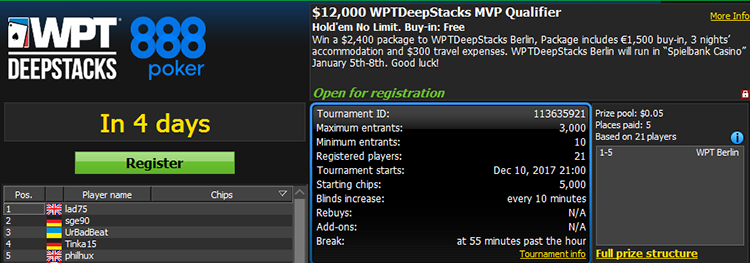 $12,000 WPTDeepstacks MVP Qualifier