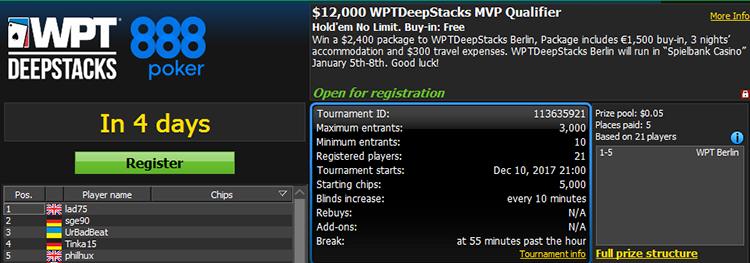 $12,000 WPTDeepstacks MVP Qualifier
