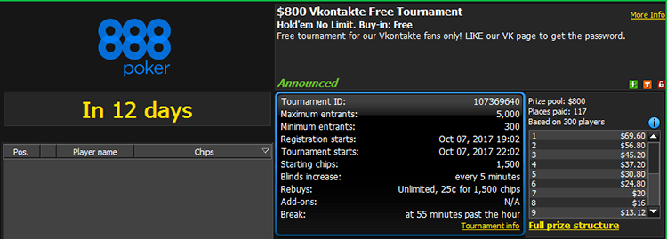 $800 VKontakte Free Tournament 888poker