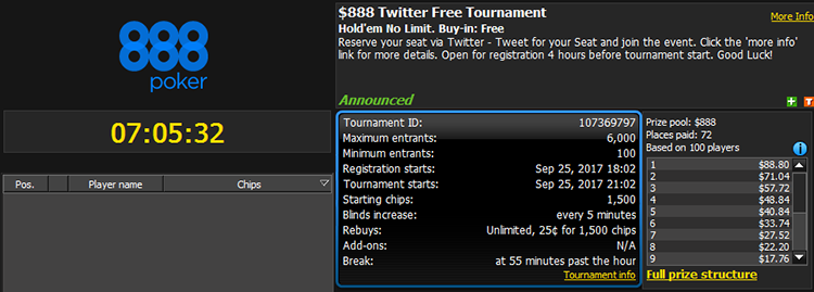 $888Twitter Free Tournament 888poker