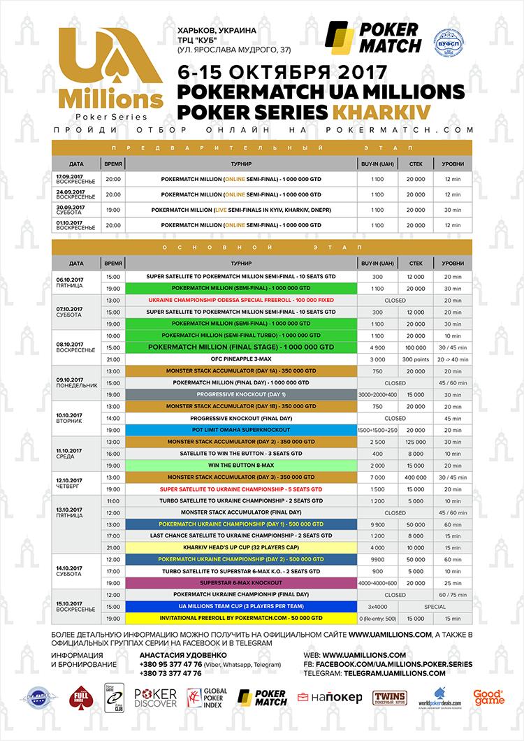 UA Millions Kharkiv schedule