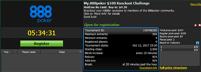 My.888poker $100 GTD Knockout Challenge