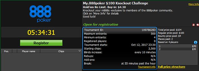 My.888poker $100 GTD Knockout Challenge