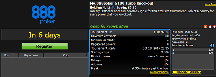 My.888poker $100 GTD Turbo Knockout