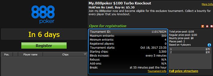My.888poker $100 GTD Turbo Knockout