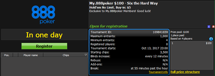 My.888poker $150 GTD - Six the Hard Way