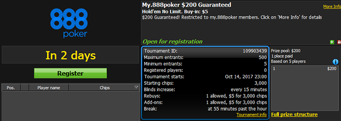 My.888poker $200 GTD 1R-A