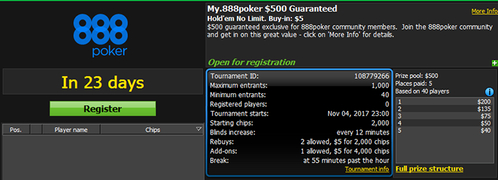 My.888poker $500 GTD Guaranteed 2R-1A