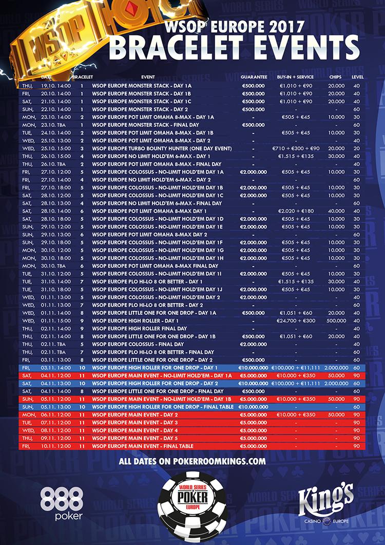 World Series of Poker Europe (WSOPE) 2017 shedule