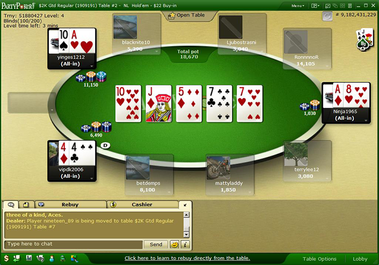 partypoker table 2010
