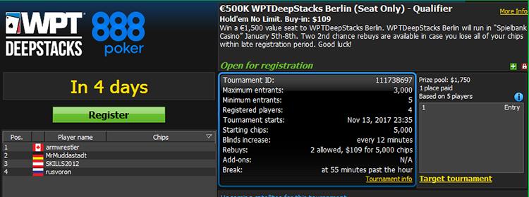 €500K WPTDeepStacks Berlin Qualifier $109