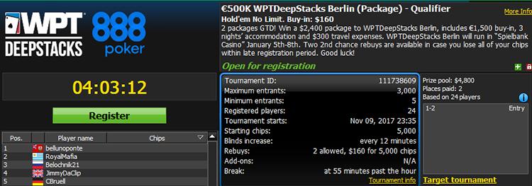 €500K WPTDeepStacks Berlin Qualifier $160