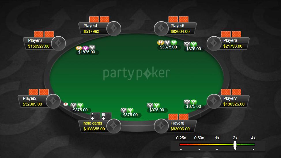 Покерный стол с открытой рукой ATs