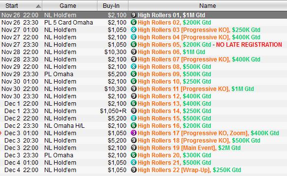 High Rollers Series shedule PokerStars