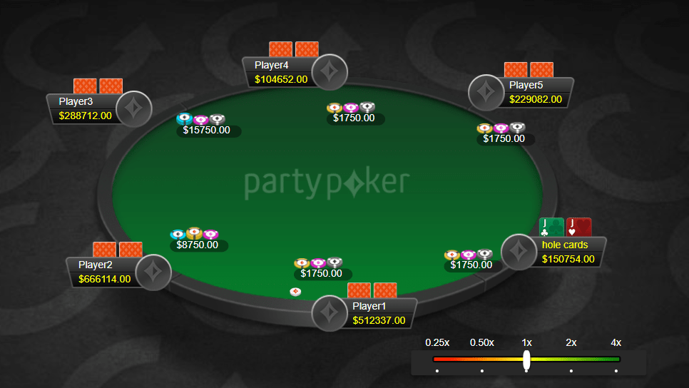 Покерный стол с открытой рукой JJ