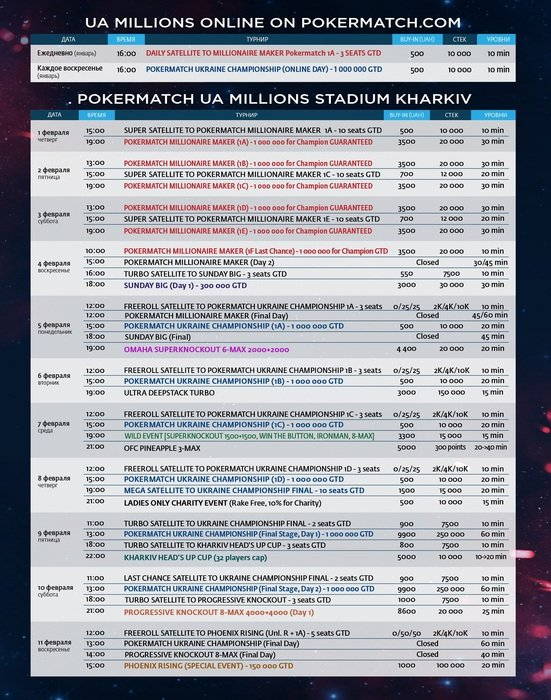 PokerMatch UA Millions Stadium schedule