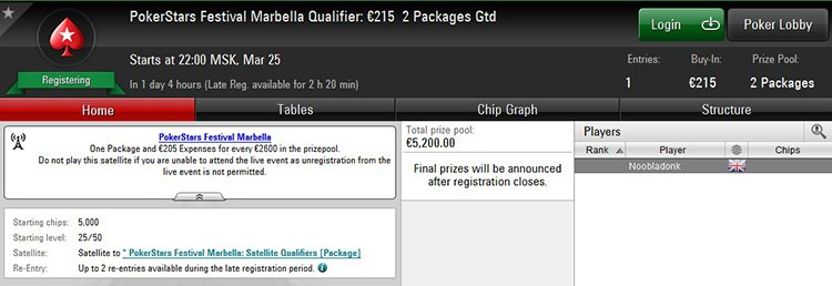 PokerStars Festival Marbella satellite