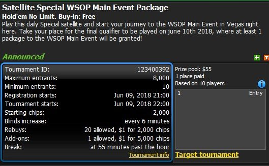 Satellite Special WSOP Main Event Package