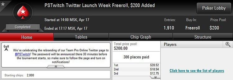 Twitter Launch Week Freeroll
