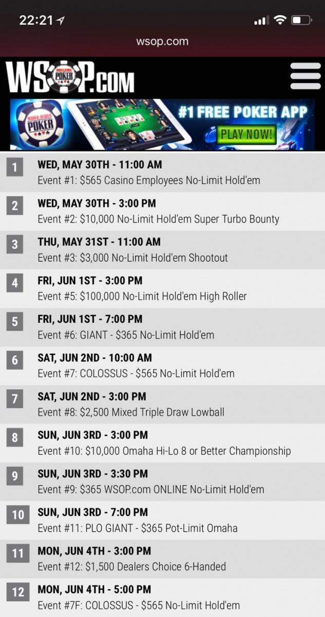 WSOP 2018 schedule mistake