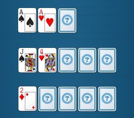 Выкладка карт в покере Ананас