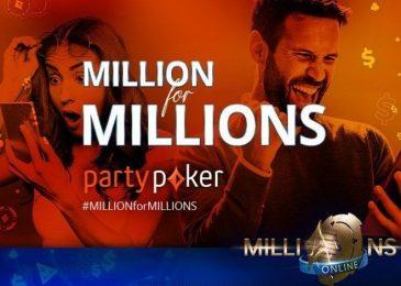 Partypoker разыграет тысячи билетов на сателлиты к MILLIONS Online