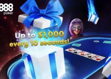 888poker запустил акцию Gift Drops с моментальными призами до $1,000 и новыми фрироллами