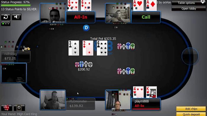 Видео-аватары в комнате 888Poker, позволяющие видеть соперников